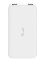 Xiaomi 10000mAh Redmi Power Bank with USB Type-C and Micro-USB Input, VXN4286GL, White