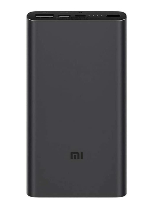 Xiaomi 10000mAh Mi 18W Fast Charge Power Bank 3 with USB Type-C and Micro-USB Input, VXN4274GL, Black