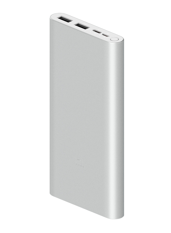 Xiaomi 10000mAh Mi 18W Fast Charge Power Bank 3 with USB Type-C and Micro-USB Input, VXN4273GL, Silver