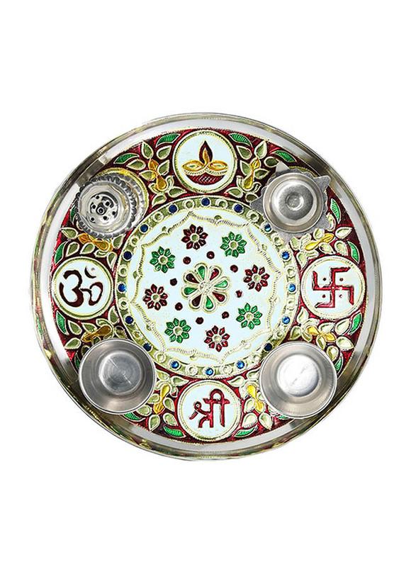23cm Steel Pooja Thali, Multicolor