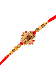 Dana A23 Designer Handcrafted Rakhi, Red/Gold