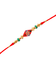 Dana A36 Designer Handcrafted Rakhi, Red/Gold/Green