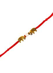 Dana A15 Designer Handcrafted Rakhi, Red/White/Gold