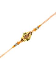 Dana A43 Designer Handcrafted Rakhi, Beige/Gold