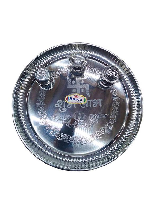 27.5cm Steel Pooja Thali, Multicolor