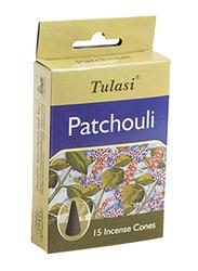 Tulasi Patchouli Incense Dhoop Cones, 15 Pieces, Green