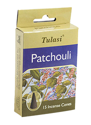 Tulasi Patchouli Incense Dhoop Cones, 15 Pieces, Green