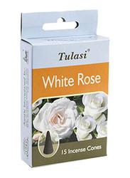 Tulasi White Rose Incense Dhoop Cones, 15 Pieces, White