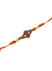 Dana A18 Designer Handcrafted Rakhi, Orange/Gold
