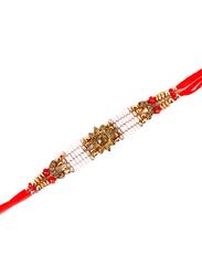 Dana A35 Designer Handcrafted Rakhi, Red/White/Gold