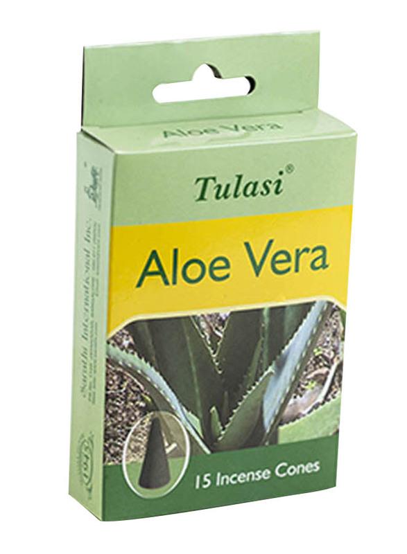 Tulasi Aloe Vera Incense Dhoop Cones, 15 Pieces, Green