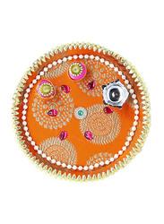 18cm Basanti Pooja Thali with Lamp, Orange