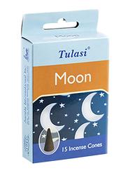 Tulasi Moon Incense Dhoop Cones, 15 Pieces, Blue