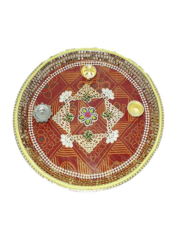 31cm Basanti Pooja Thali, Multicolor