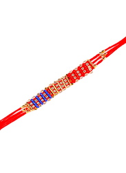 Dana A38 Designer Handcrafted Rakhi, Red/Gold/Blue
