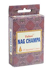 Tulasi Nag Champa Incense Dhoop Cones, 15 Pieces, Brown