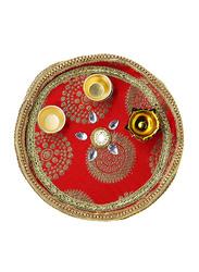 18cm Basanti Pooja Thali, Red