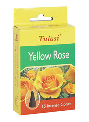 Tulasi Yellow Rose Incense Dhoop Cones, 15 Pieces, Yellow