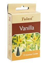 Tulasi Vanilla Incense Dhoop Cones, 15 Pieces, Yellow