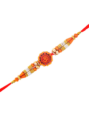 Dana A34 Designer Handcrafted Rakhi, Red/Orange
