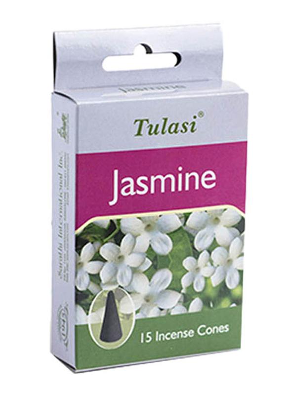 Tulasi Jasmine Incense Dhoop Cones, 15 Pieces, Purple