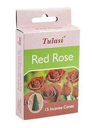 Tulasi Red Rose Incense Dhoop Cones, 15 Pieces, Red