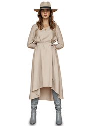 El Flair Ava 3/4 Sleeves Midi Dress, 12 UK, Beige