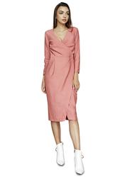 El Flair Anna 3/4 Sleeves Midi Dress, 8 UK, Coral
