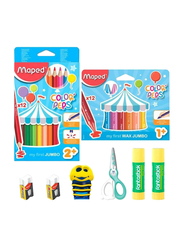 Maped 30-Piece Color Peps School Stationery Set, White/Red/Purple