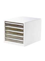Deli 5-Drawer File Cabinet, White