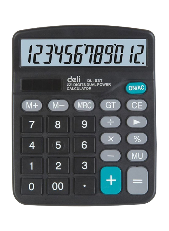 Deli 12-Digit Dual Power Calculator, Black
