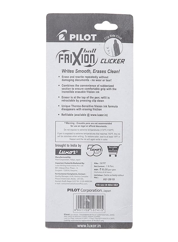 Pilot Frixion Clicker 07 Rollerball Pen, Green