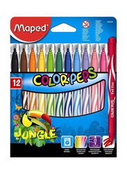 Maped 12-Piece Color'Peps Jungle Felt Tip Colour Pen Set, Multicolour