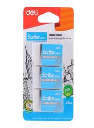 Deli 3-Piece Scribe Plus Eraser Set, EH00311, White