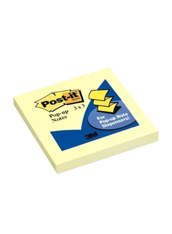 3M Post-It Pop Up Sticky Notes, 7.62 x 7.62cm, Yellow