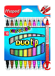 Maped 10-Piece Color'Peps Dual Felt Tip Colour Pen Set, Multicolour