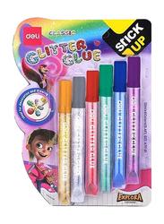 Deli Classic Stick Up Glitter Glue Set, 6 Pieces x 12ml, Multicolour