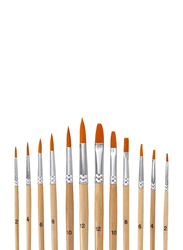 Professional Round Pointed Tip Paint Brush Set, 12 Pieces, Beige