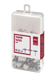 Deli Thumb Tacks, 100 Pieces, Silver
