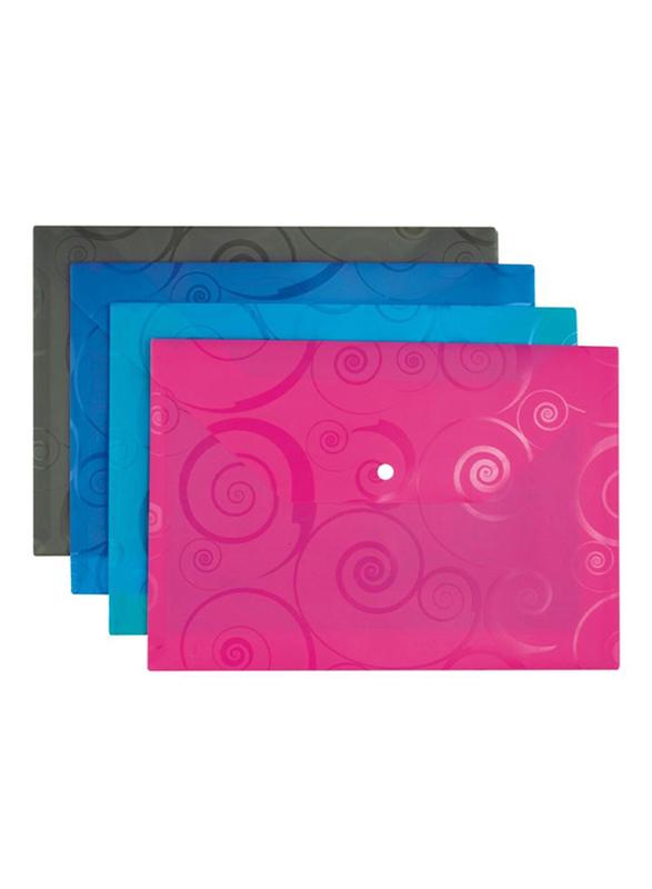 Deli Button File, 10 Pieces, A4 Size, Multicolor