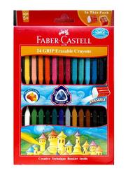 Faber-Castell Grip Erasable Crayon Set, 24 Pieces, Multicolor