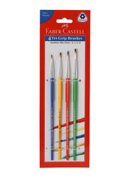 Faber-Castell Tri-Grip Flat Paint Brushes Set, Size 0/2/4/6, 4 Pieces, Multicolour