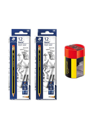 Staedtler 25-Piece Noris Club Fiber Tip Pencil and Sharpener Stationery Combo, Yellow/Red/Black