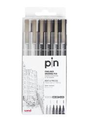 Uniball 6-Piece Fineliner Pen Set, Grey