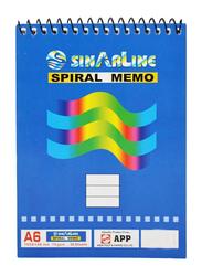 Sinarline Spiral Memo Pad, 50 Sheets, A6 Size, Blue
