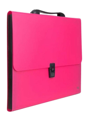 Deli Solid Pattern Expanding File, Pink/Black