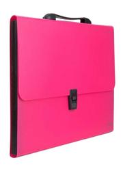 Deli Solid Pattern Expanding File, Pink/Black