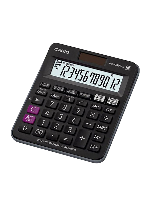 Casio MJ120D Desktop Calculator with Tax Keys, Black