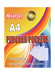 Partner Punched Pocket, 100 Piece, A4 Size, Clear