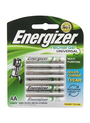 Energizer 4-Piece AA Rechargeable Universal Batteries, Silver